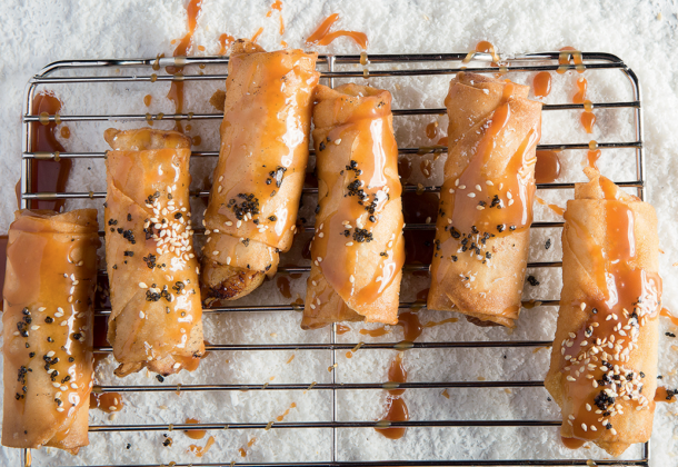 Sesame banana spring rolls with salted caramel sauce recipe