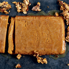 Sweet potato malva pudding with nut brittle
