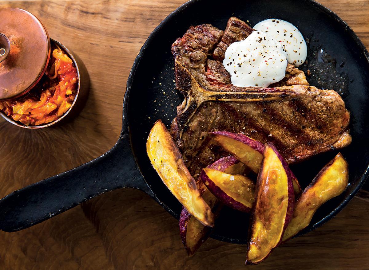 T-bone steak with buttermilk sauce and chakalaka recipe