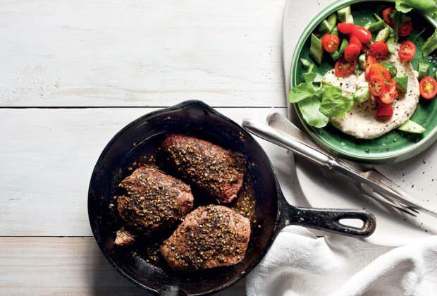 Zaatar-spiced ostrich steaks with tahini sauce recipe