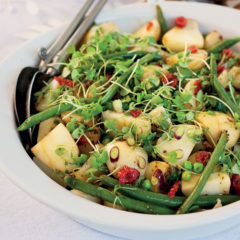Green bean, pea, baby potato and micro rocket salad with rooibos vinaigrette