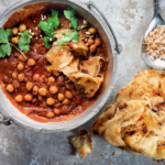 Butter chicken-flavoured chickpea curry with home-made busted rotis recipe