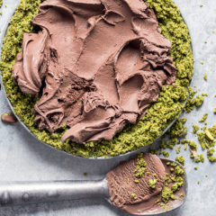 Chocolate, matcha and pistachio ice-cream pie