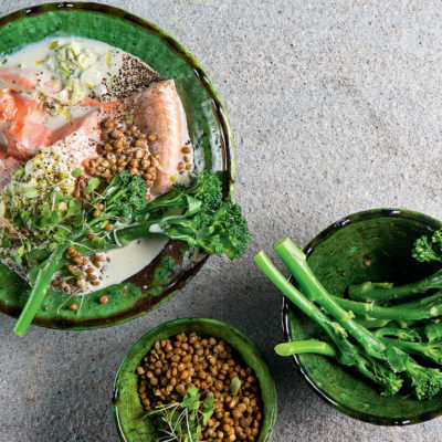 Garlic-poached salmon with Tenderstem broccoli