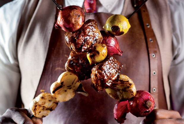 Grilled lamb kebabs with sticky stout glaze recipe