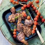Harissa lamb chops with blistered tomatoes on skewers recipe