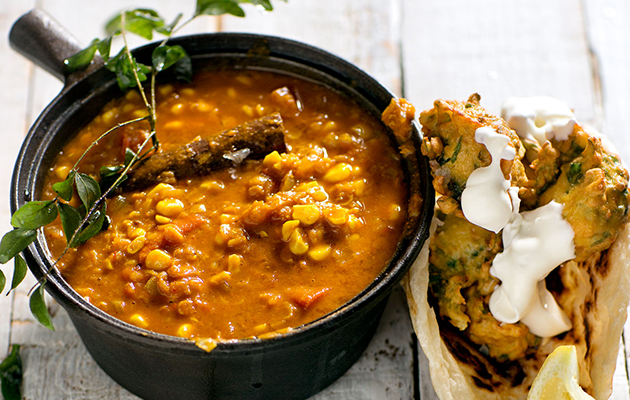 Indian-inspired dhal and corn curry recipe