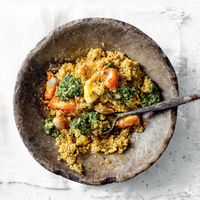 Millet risotto with celery leaf pesto