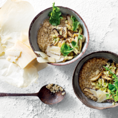 Savoury oats with creamy leeks, mushrooms and Parmesan