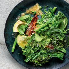 Tenderstem broccoli, avocado and bacon dressed with warm anchovy butter