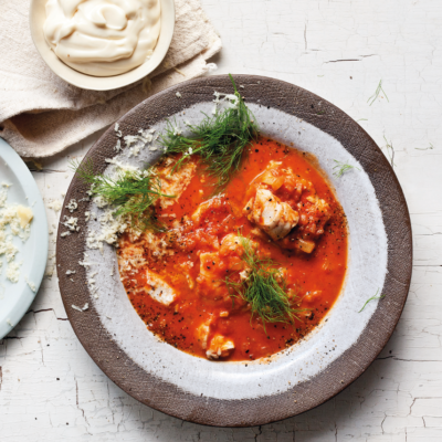 Fish soup with croutons, cheese and garlic mayo recipe