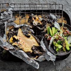 Braaied fish parcels with spicy coconut sauce and cucumber-and-fennel salad