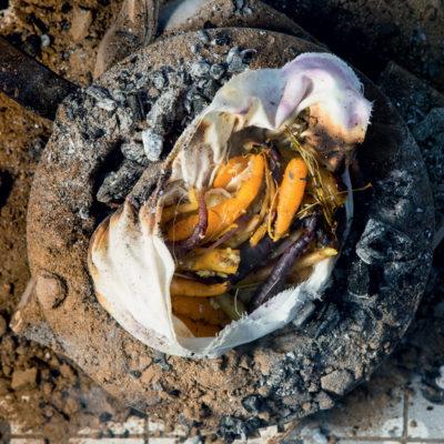 Carrots baked in coals