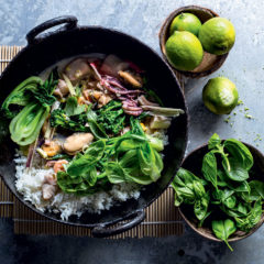 Coconut seafood and Asian greens stir-fry