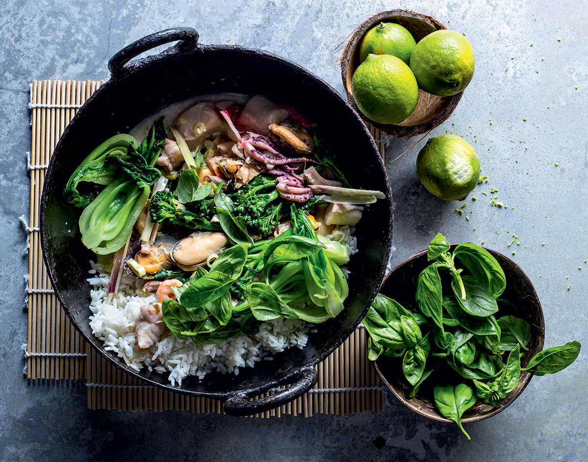 Coconut seafood and Asian greens stir-fry recipe