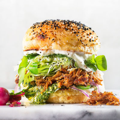 Cuban pulled-pork buns with pickled radishes