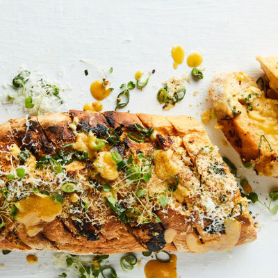 Garlic bread with Parmesan miso butter