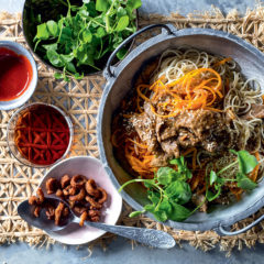Orange-sesame duck and butternut noodles