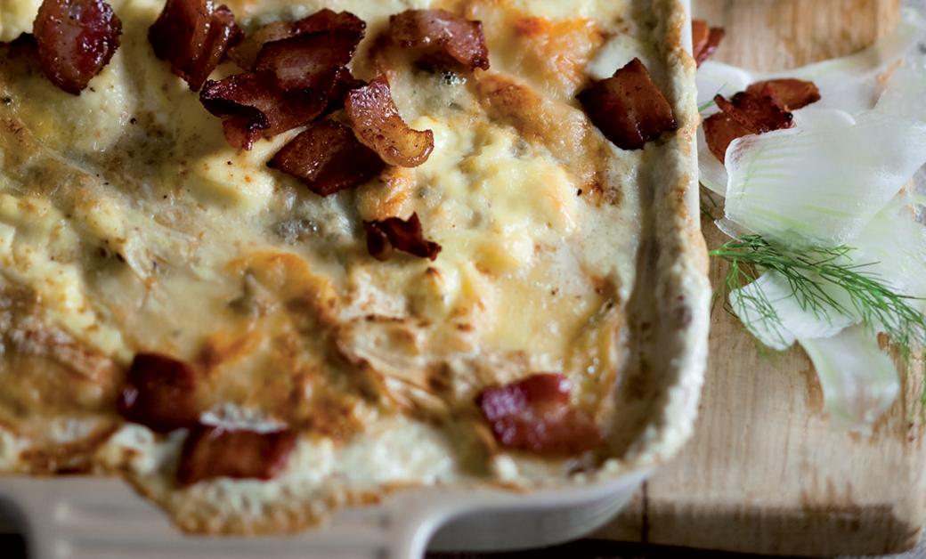 Potato bake with bacon