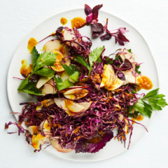 Red cabbage-and-apple slaw with tamarind, turmeric and ginger dressing