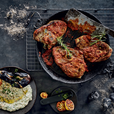 Sumac-braaied lamb chops with burnt brinjal dip