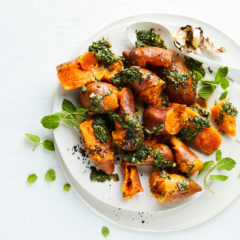 Sweet-potato salad with braaied garlic and salsa verde