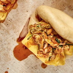 Bao with kimchi and folded omelette