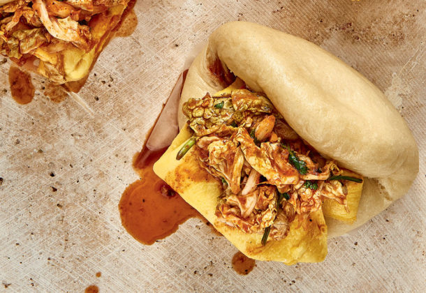 Bao with kimchi and folded omelette recipe