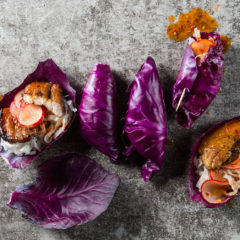 Cabbage leaf wraps with crispy pork