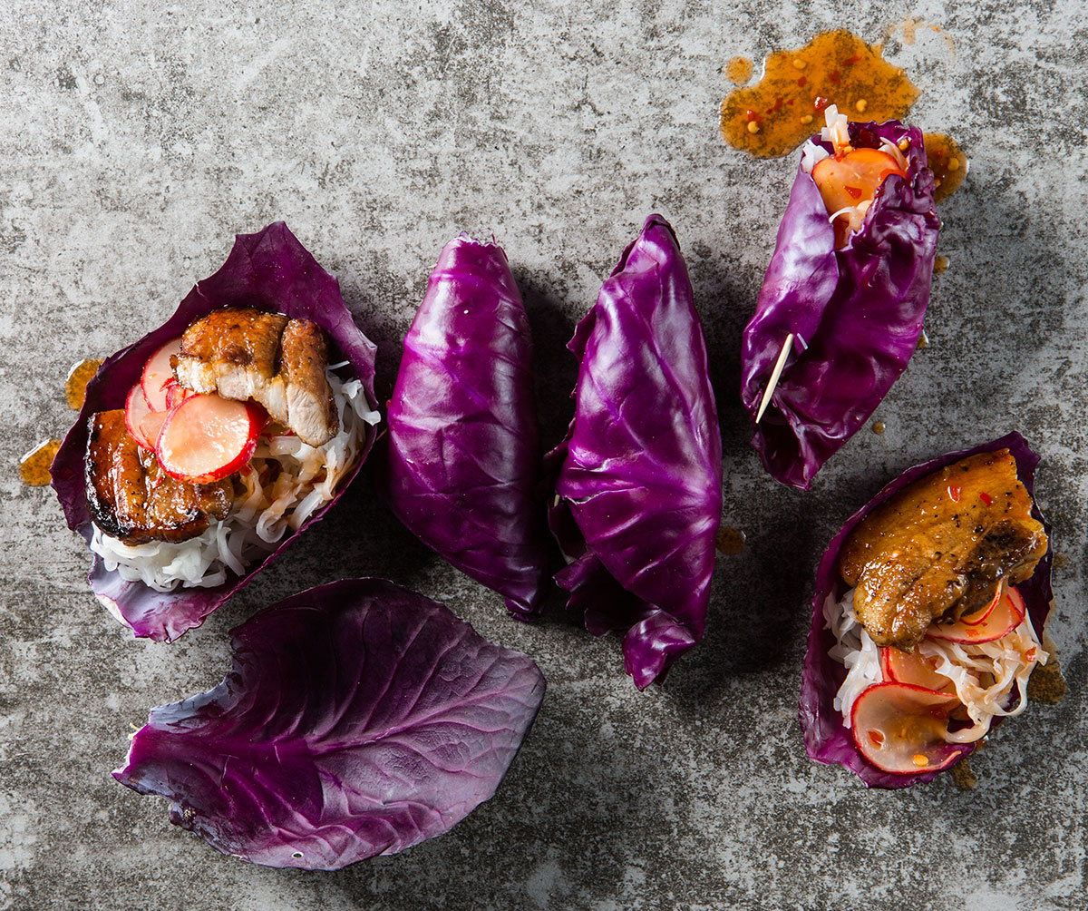 Cabbage leaf wraps with crispy pork recipe