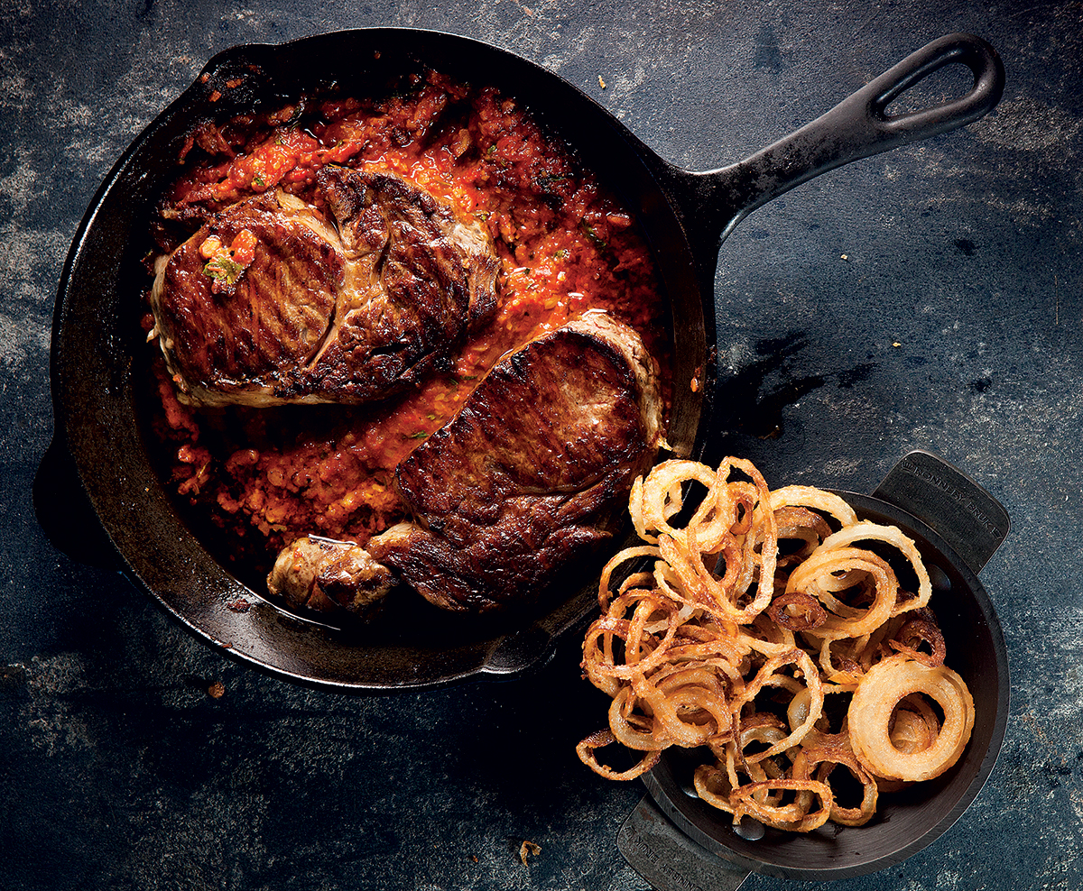 chilli Romesco rump with onion rings