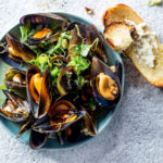 Mussels in beer broth with garlic-mayo toast recipe