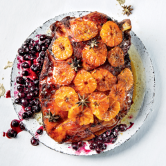 Naartjie-glazed gammon with blueberries and star anise