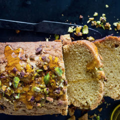 Olive oil-and-pistachio cake with pear crust