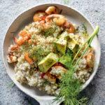 Prawn, fennel and avocado risotto recipe