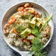 Prawn, fennel and avocado risotto