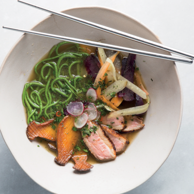 Seared duck ramen with spinach-and-cauliflower noodles