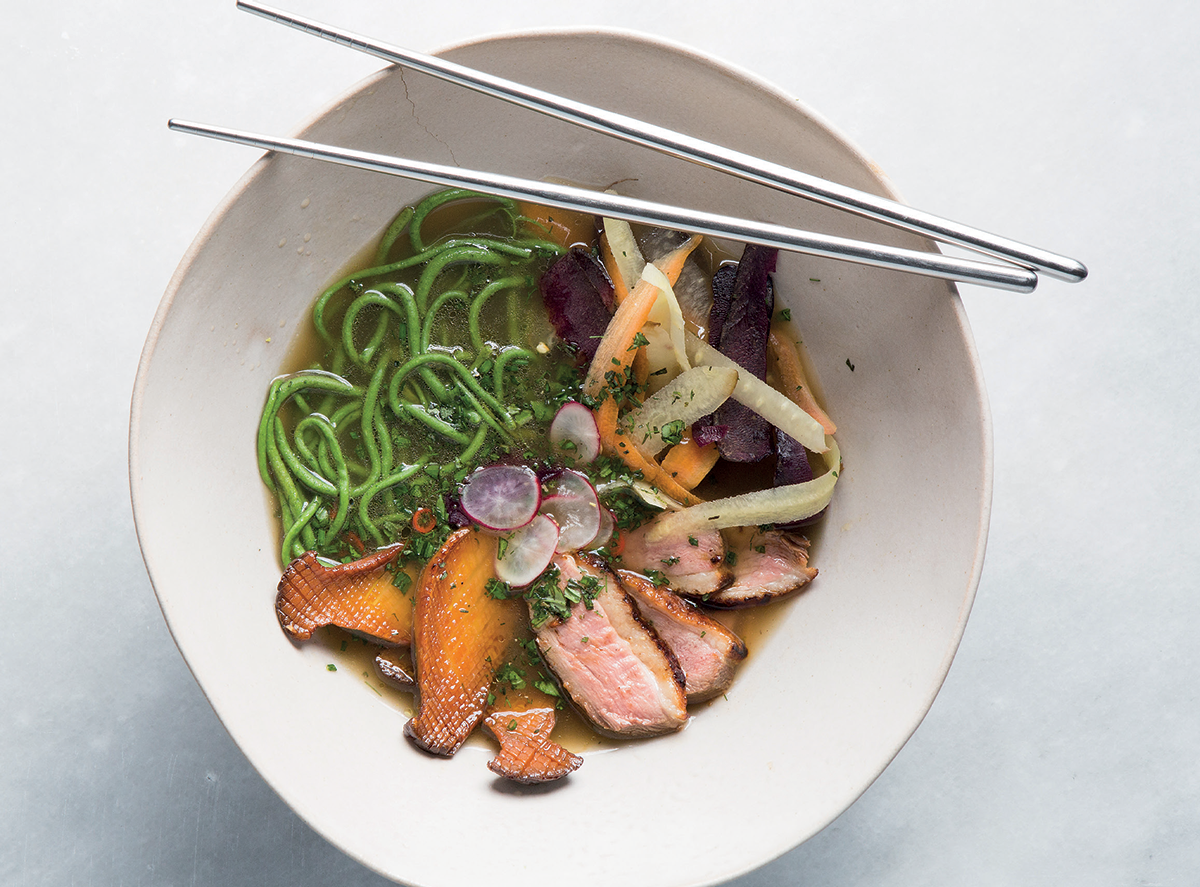 Seared duck ramen with spinach-and-cauliflower noodles recipe