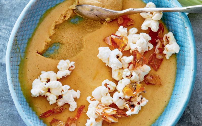 Baked sweetcorn cream with popcorn praline recipe