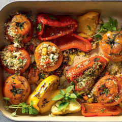 Herby couscous-stuffed tomatoes and peppers
