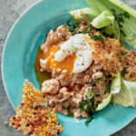 Samp-and-bean risotto with poached eggs and Parmesan corn shards recipe