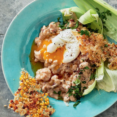 Samp-and-bean risotto with poached eggs and Parmesan corn shards