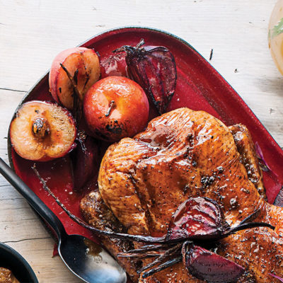Spiced roast beetroot and plums