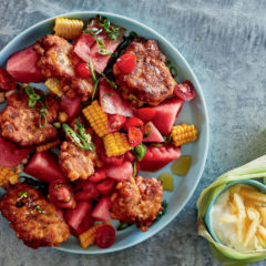 Spicy corn fritters with watermelon salad