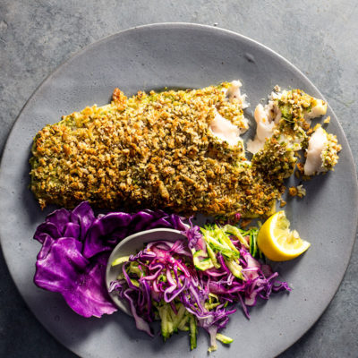 Basil pesto-crusted fish