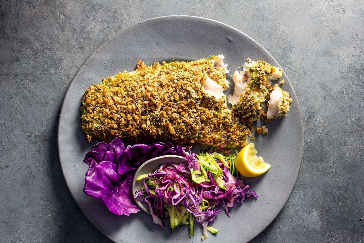 Basil pesto-crusted fish recipe