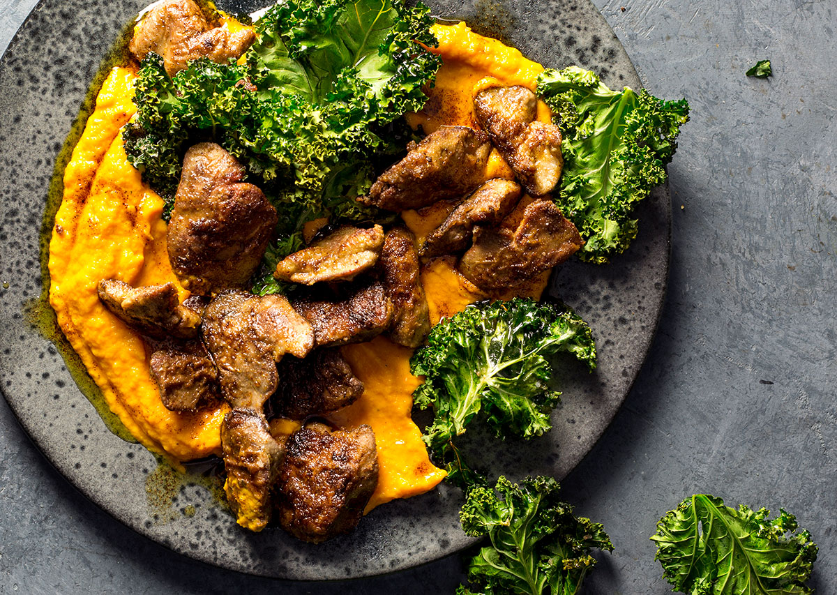 Chicken livers with carrot mash and crispy kale recipes