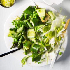 Green salad with cucumber-seed dressing