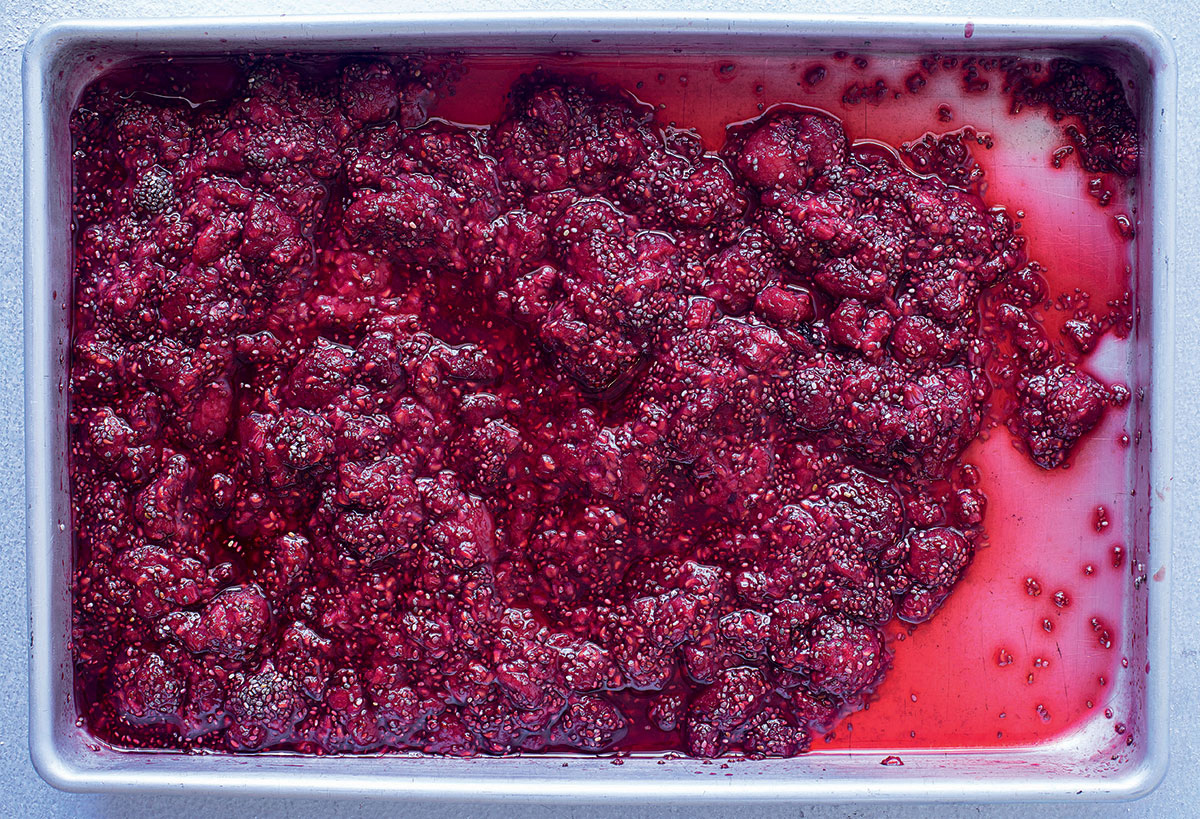 Grilled raspberry-and-chia tray jam recipe