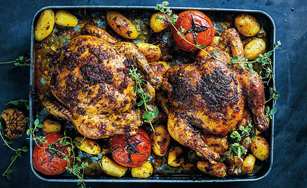 Tomato-and-tuscan chicken tray roast recipe